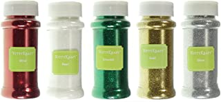 KittyKraft 5 Piece Extra Fine Glitter Set (Holiday Collection)- Includes Red, White, Green, Gold, and Silver Glitter - Perfect for Christmas and Holiday Crafts