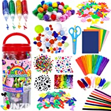 FunzBo Arts and Crafts Supplies Jar for Kids - Craft Art Supply Kit for Toddlers Age 4 5 6 7 8 9 - All in One D.I.Y. Crafting Collage Arts Set for Kids and Toddlers