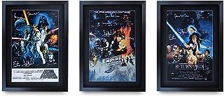 HWC Trading A3 FR Star Wars – Póster de la película de la colección de películas de la película de regalo firmado enmarcado A3 impreso para autógrafo, Trilogía original, A3