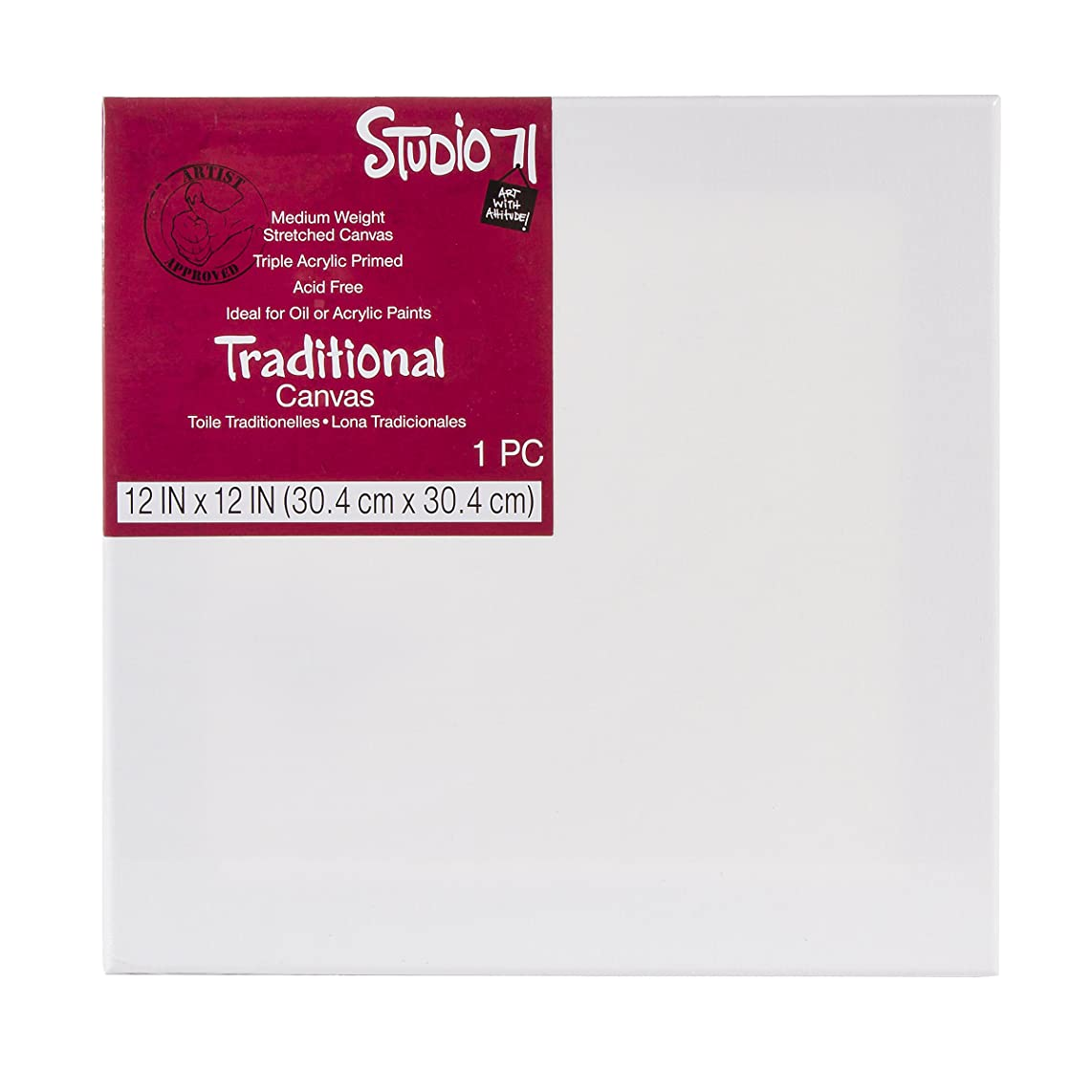 Darice Studio 71, 12 by 12 inch, Traditional Stretched Canvas, Medium Weight, Primed