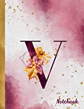 V Notebook: 8.5 x 11 Pretty Gold Foil Floral Design Letter