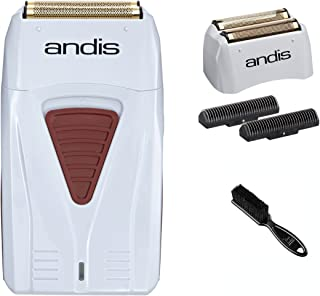 Andis Cordless Men's Long Lasting Lithium Battery Titanium Foil Shaver w/Additional Replacement Foil Assembly and Inner Cutters & Classic Barber Blade Brush