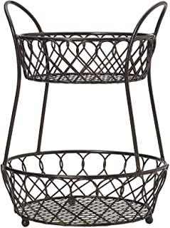 Sponsored Ad - Gourmet Basics by Mikasa Loop and Lattice Wire Basket, Antique Black
