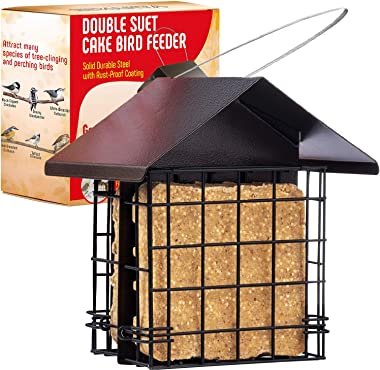 Suet Bird Feeder for Outside [Double Capacity] Suet Wild Bird Feeder with Hanging Metal Roof, Suet Feeders for Outside, for U