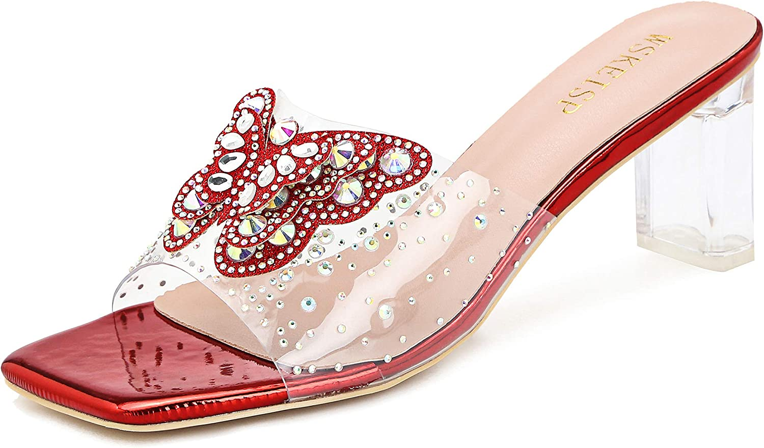 Women's Clear PVC Heeled Ranking TOP3 A surprise price is realized Mules Rhinestone Butterfly Sandals Slip