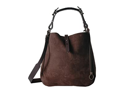 Filson Rugged Suede Hobo (Dark Tobacco) Hobo Handbags