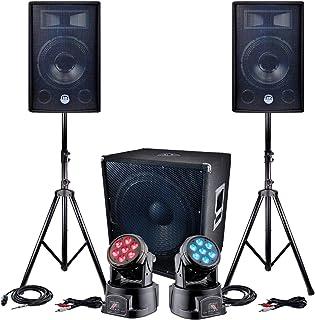 Pack sono 2400W - 2 Enceintes 30cm + Sub 46cm + Câbles + 2 Lyres à LEDs DMX RVB + BLANC 4W