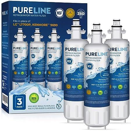 Pureline LT700P & 9690 Water Filter Replacement. Compatible with Kenmore Elite 46-9690, LG LT700P, ADQ36006101, LMXS27626s, LFXS29766s, & HDX FML-3. (3 Pack)