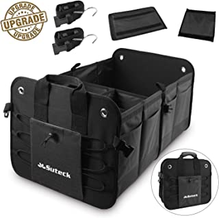 Suteck Car Trunk Organize for Car SUV Auto Minivan, Collapsible Portable Cargo Storage with Multi Compartments and Upgraded Handle, Heavy Duty Non-Slip Waterproof Bottom Trunk Organizer, Black