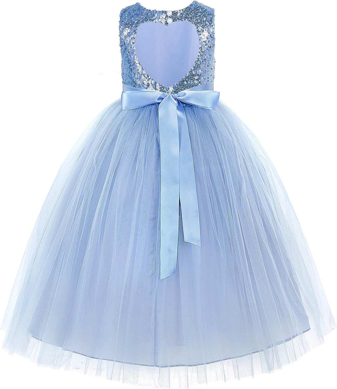 Heart Cutout Sequin Flower Girl Dress Girls Tulle Dresses Wedding Bridesmaid Dress 172seq