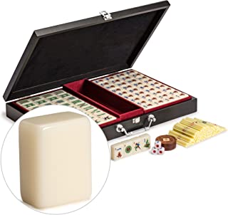 Yellow Mountain Imports Chinese Mahjong (Mah Jong, Mahjongg, Mah-Jongg, Mah Jongg, Majiang) Set with Numbered Tiles, Accessories, and Compact Wooden Case,