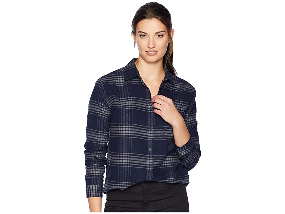 The North Face Long Sleeve Boyfriend Shirt (Urban Navy Large Tartan Plaid) Women