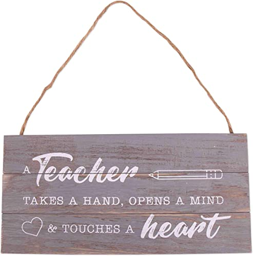 lowest GSM sale Brands Teacher Takes a Hand 2021 Wood Plank Hanging Sign (13.75x6.9) online