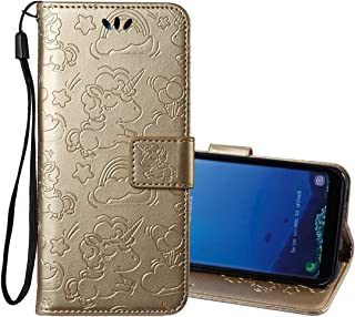 Protective Case Compatible with Samsung Compatible Samsung Galaxy S8 Pressed Horse Cloud Print Horizontal Flip Leather Case with Holder & Card Slots & Wallet & Lanyard Phone case (Color : Gold)