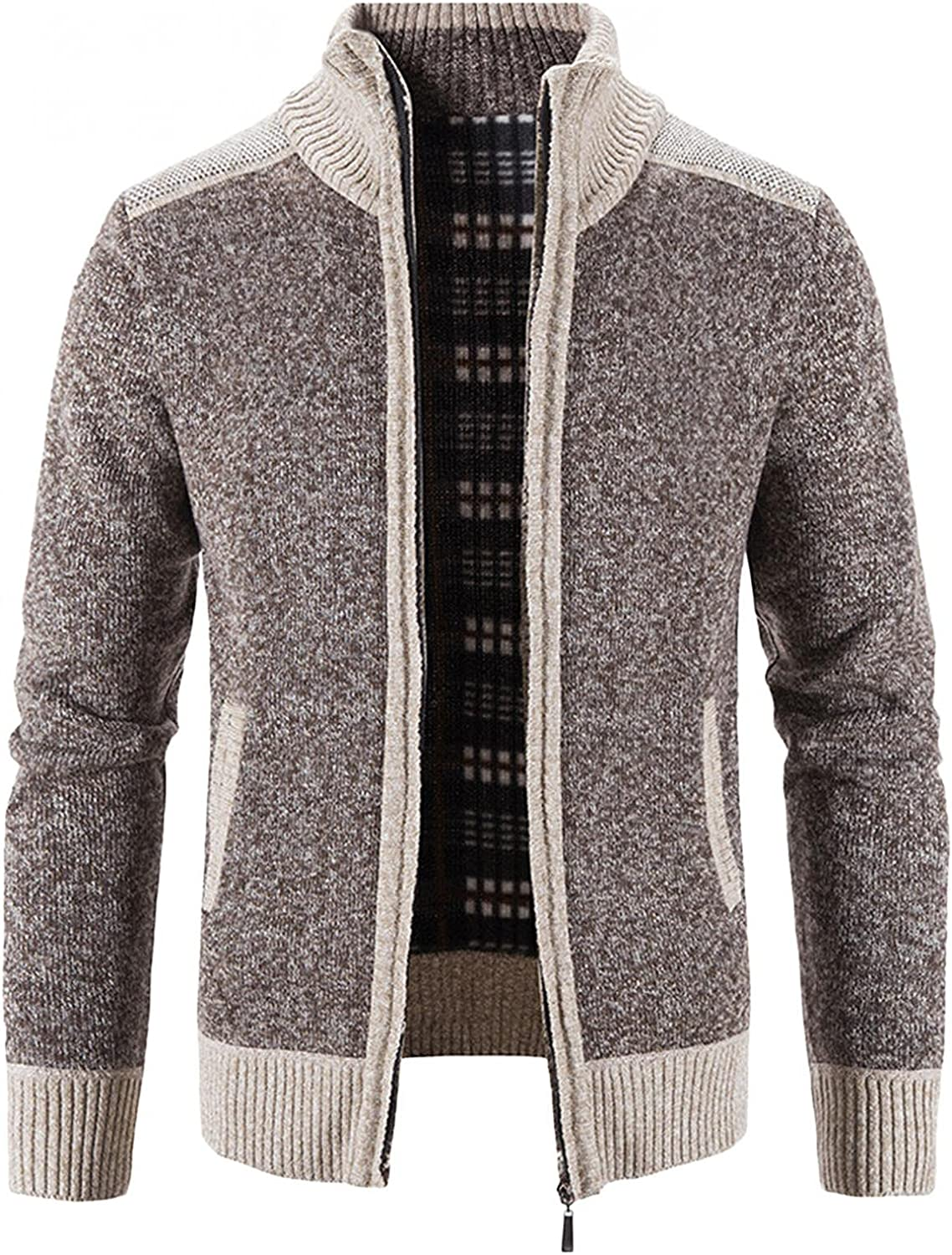 Mens Knitted Cardigan Sweater Coat Long Sleeve Stand Collar Full Zip Thick Blouse Classic Color Block Striped Outwear