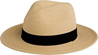 Pineapple&Star Sun Straw Fedora Beach Hat Fine Braid...