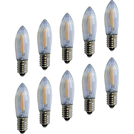 mit E10 Schraubgewinde 09 St/ück 14V // 3W com-four/® 9X Riffelkerze f/ür Lichterketten mit 16 Lampen
