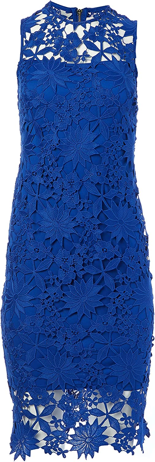 Calvin Rapid rise Klein Challenge the lowest price of Japan ☆ Floral Embroidered Women's Dress Lace Sheath