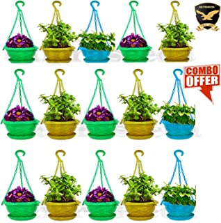 SAI PRASEEDA Hanging pots for Plants Balcony (Pack of 15`s) Multi Colour with Water Tray