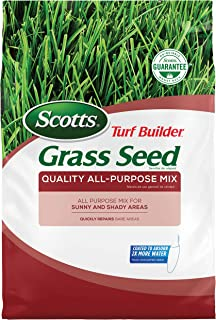 Scotts Turf Builder Grass Seed Quality All-Purpose Mix - 20 lb, for Sunny and Shady Areas, Quickly Repairs Bare Areas, Specially Blended for Northern Lawns, Seeds up to 8,000 sq. ft.