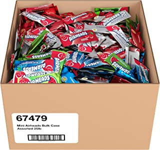 Airheads Candy Mini Bars, Easter Egg Stuffer, Assorted Flavors, Individually Wrapped Bulk Box, Non Melting, Party, 25 Pounds