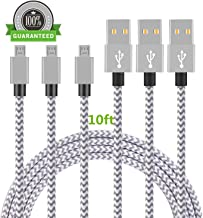Micro USB Cable, Asstar [3 Pack] 10FT Extra Long Premium Nylon Braided USB to Micro USB Charging Cord Android Charger for Samsung Galaxy S7 / S6 / S5 /Edge,HTC,LG,Nexus (10ft)