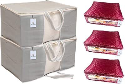 Kuber Industries 3 Layered Quilted Rexine Saree Cover Set of 3 Pcs & 2 Piece Non Woven Front Handle Underbed Storage Organiser, X-Large, Grey Combo