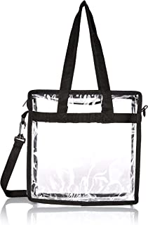 """Premium Clear Stadium Approved Bag - Clear Tote Bag with Cross Body Messenger Adjustable Shoulder Strap-12"""" X 12"""" X 6"""""""