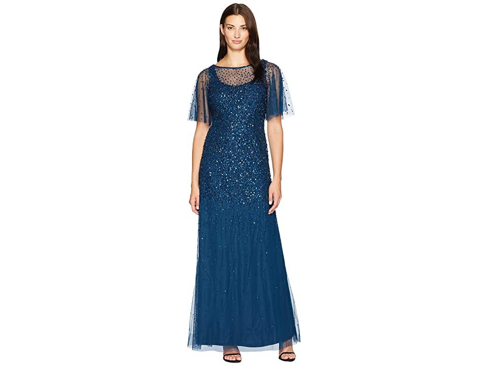 Adrianna Papell Beaded Gown with Flutter Capelet Sleeves (Deep Blue) Women