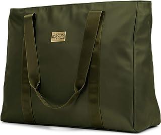 BADGLEY MISCHKA Nylon Travel Tote Weekender Bag - Lightweight Packable Travel Bag (Olive Green)