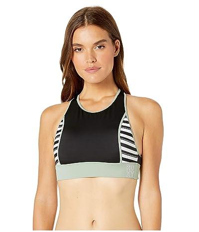 Roxy Fitness Crop Top Bikini Top (True Black Beetle Stripes) Women