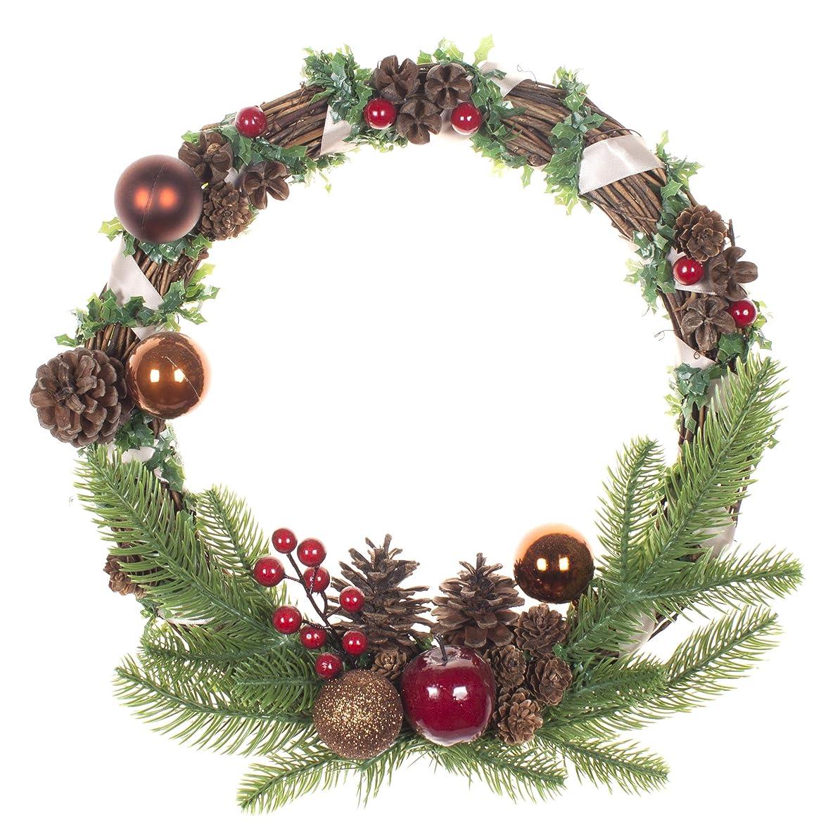 扱いやすい離す柔らかい足「LTWHOME」「高貴なこどく」リースシリーズWHCA クリスマス要素、アップル、木の実の素材ドア、壁飾り インテリア品