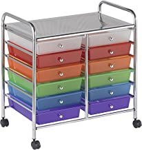 "ECR4Kids 12-Drawer Mobile Organizer, 25.75"" H, Assorted Colors"
