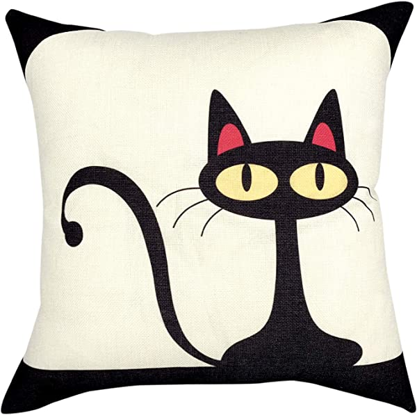 YOUR SMILE Kid S Series Cute Cartoon Animal Cotton Linen Sofa Home Decor Design Throw Pillow Case Cushion Covers Square 18x18 Inch Cat 4 18 X 18