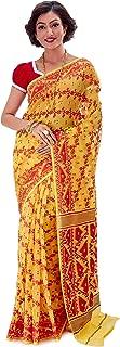 SareesofBengal Women's CottonSilk Handloom Jamdani Dhakai Saree Yellow And Red