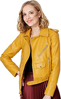 Jhichic Women's Faux Leather Textured Short Moto Jacket Zip-up Slim PU Biker Coat with Pockets
