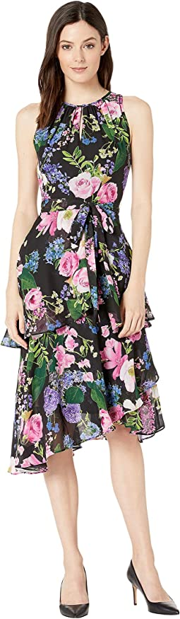 Printed Floral Chiffon Dress with Cascade Skirt