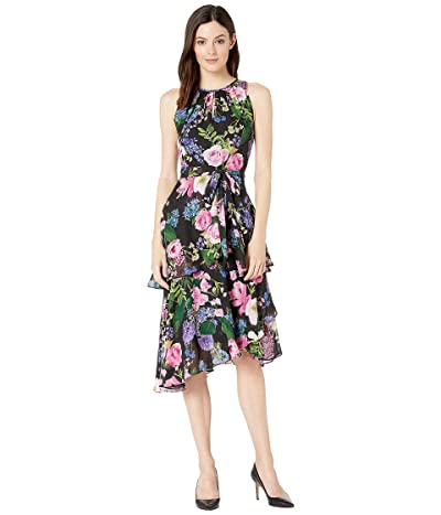 Tahari by ASL Printed Floral Chiffon Dress with Cascade Skirt (Botanical Garden) Women