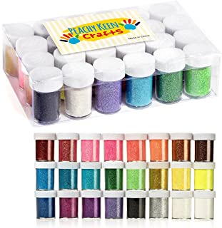 24 Pack Arts and Crafts Glitter Powder - Brightly Colored Loose Dust - Kids Fine Glitter Pack Shake Jars Perfect for Slime...