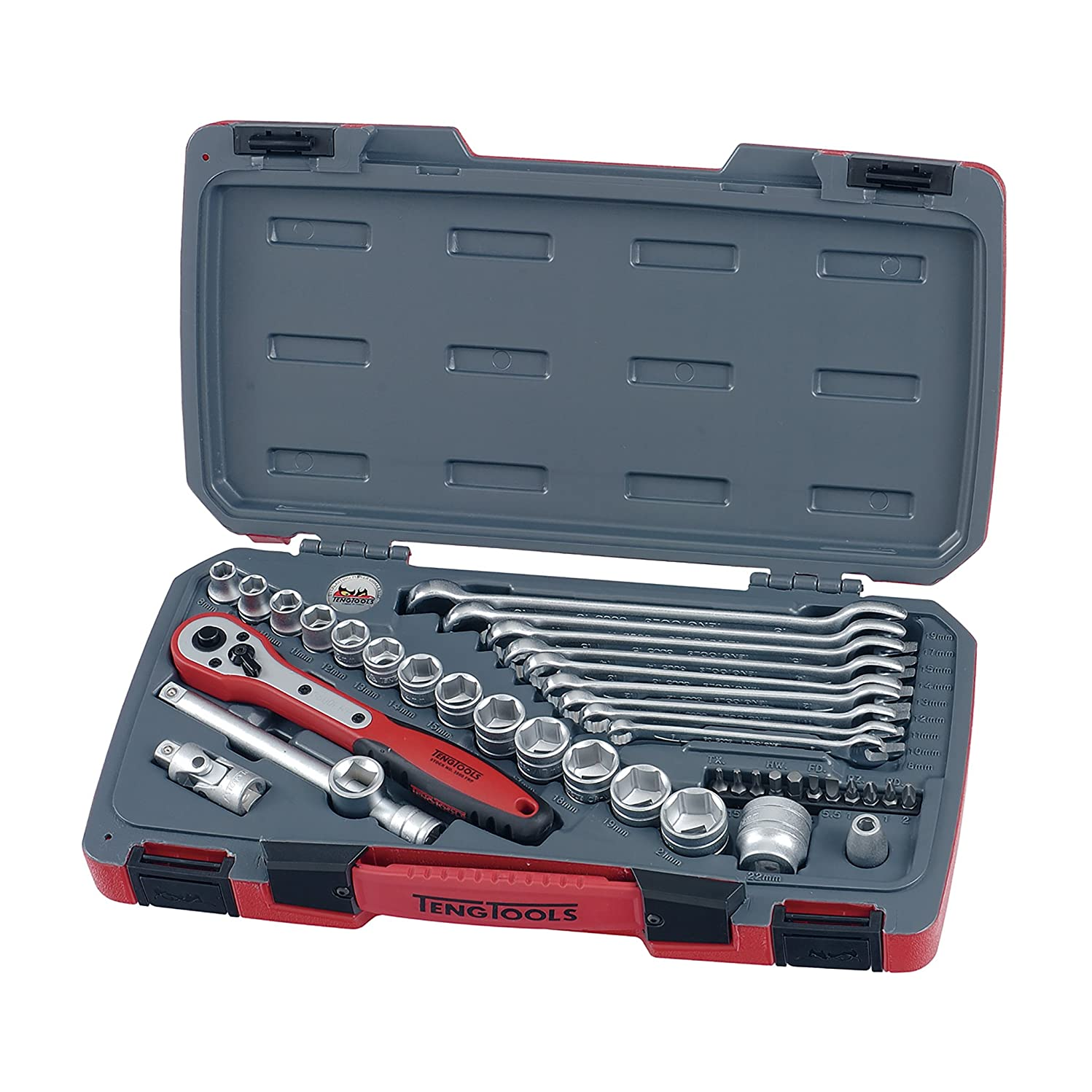 Teng Tools 39 Piece 3/8 Inch Drive 6 Point Metric Regular/Shallow Socket (8mm - 22mm) & Wrench (8mm - 19mm) Set With FRP Ratchet, Universal Joint, Extensions, Coupler Adaptor, Wrenches & Bits - T3840
