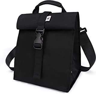 Adult Lunch Box Reusable Lunch Bags Large School Lunch Bag for Women, Men, Teens and Kids by Sunny Bird (Black)