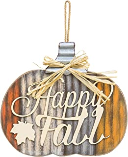 One Holiday Lane Rustic Wood Harvest Pumpkin Decoration - Wall Hanging Autumn Sign with Metal Stem (Happy Fall)