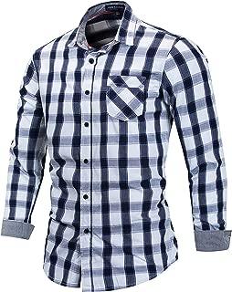 Men's 100% Cotton Regular-Fit Long-Sleeve Button-Down Buffalo Plaid Shirt with Pocket