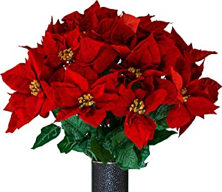 Sympathy Silks Artificial Cemetery Flowers – Realistic Vibrant Roses, Outdoor Grave Decorations - Non-Bleed Colors, and Easy Fit - Red Poinsettia Bouquet