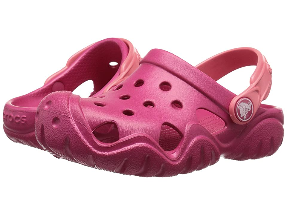 Crocs Kids Swiftwater Clog (Toddler/Little Kid) (Raspberry/Coral) Girls Shoes
