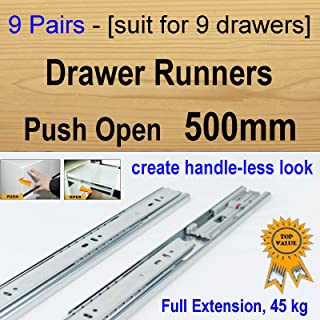 9 pairs push open ball bearing drawer runners / Slides Kitchen Vanity - 500mm
