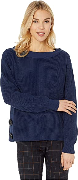 Long Sleeve Boat Neck Button Side Sweater