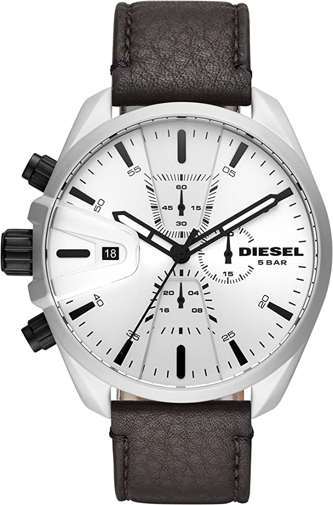 Diesel orologio cronografo da uomo con cinturino in vera pelle e cassa in acciaio inossidabile DZ4505