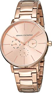 Armani Exchange Women's Lola Analog-Quartz Watch with Stainless-Steel-Plated Strap, Rose Gold, 18 (Model: AX5552)
