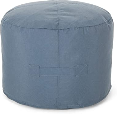 Christopher Knight Home 307994 Crystal Cay Outdoor Water Resistant 2' Ottoman Pouf, Blue